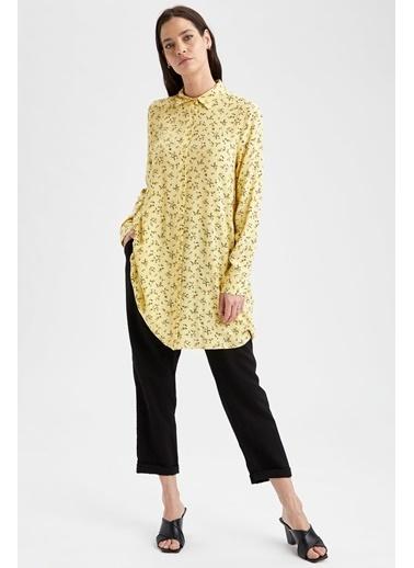 DeFacto Çiçek Desenli Dokuma Gömlek Tunik Sarı